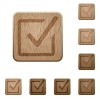 Checked box wooden buttons - Set of carved wooden checked box buttons. 8 variations included. Arranged layer structure.