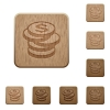 Coins wooden buttons - Set of carved wooden coins buttons. 8 variations included. Arranged layer structure.