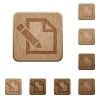 Edit wooden buttons - Set of carved wooden edit buttons. 8 variations included. Arranged layer structure.