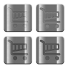 Metal Cart buttons - Set of Cart buttons vector in brushed metal style. Arranged layer, color and graphic style structure.
