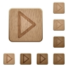 Media play wooden buttons - Set of carved wooden media play buttons. 8 variations included. Arranged layer structure.