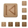 Media previous wooden buttons - Set of carved wooden media previous buttons. 8 variations included. Arranged layer structure.