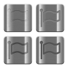 Metal Flag buttons - Set of Flag buttons vector in brushed metal style. Arranged layer, color and graphic style structure.
