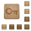 Set of carved wooden old key buttons. 8 variations included. Arranged layer structure. - Old key wooden buttons