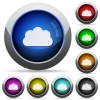 Cloud button set - Set of round glossy cloud buttons. Arranged layer structure.