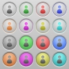 User plastic sunk buttons - Set of user plastic sunk spherical buttons on light gray background. 16 variations included. Well-organized layer, color swatch and graphic style structure. Easy to recolor.