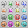 User group plastic sunk buttons - Set of user group plastic sunk spherical buttons on light gray background. 16 variations included. Well-organized layer, color swatch and graphic style structure. Easy to recolor.