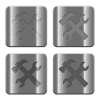 Metal Tools buttons - Set of Tools buttons vector in brushed metal style. Arranged layer, color and graphic style structure.
