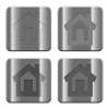 Metal Home buttons - Set of Home buttons vector in brushed metal style. Arranged layer, color and graphic style structure.