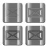 Metal Mail buttons - Set of Mail buttons vector in brushed metal style. Arranged layer, color and graphic style structure.