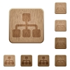 Network wooden buttons - Set of carved wooden network buttons. 8 variations included. Arranged layer structure.