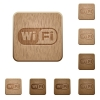 Wifi wooden buttons - Set of carved wooden wifi buttons. 8 variations included. Arranged layer structure.