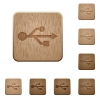 USB wooden buttons - Set of carved wooden usb buttons. 8 variations included. Arranged layer structure.