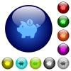 Color piggy bank glass buttons - Set of color piggy bank glass web buttons. Arranged layer structure.