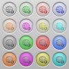 Online payment plastic sunk buttons - Set of online payment plastic sunk spherical buttons on light gray background. 16 variations included. Well-organized layer, color swatch and graphic style structure. Easy to recolor.