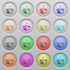Pack plastic sunk buttons - Set of pack plastic sunk spherical buttons on light gray background. 16 variations included. Well-organized layer, color swatch and graphic style structure. Easy to recolor.