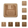 Save wooden buttons - Set of carved wooden save buttons. 8 variations included. Arranged layer structure.