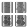 Metal User group buttons - Set of User group buttons vector in brushed metal style. Arranged layer, color and graphic style structure.