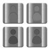 Set of User profile buttons vector in brushed metal style. Arranged layer, color and graphic style structure. - Metal User profile buttons