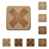 Cancel wooden buttons - Set of carved wooden cancel buttons. 8 variations included. Arranged layer structure.
