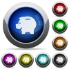 Piggy bank button set - Set of round glossy piggy bank buttons. Arranged layer structure.