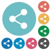 Flat share icons - Flat share icon set on round color background. 8 color variations included with light teme.