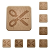 Cut out wooden buttons - Set of carved wooden cut out buttons. 8 variations included. Arranged layer structure.