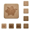 Piggy bank wooden buttons - Set of carved wooden piggy bank buttons. 8 variations included. Arranged layer structure.