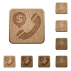 Money call wooden buttons - Set of carved wooden money call buttons. 8 variations included. Arranged layer structure.