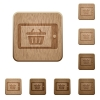 Mobile shopping wooden buttons - Set of carved wooden mobile shopping buttons. 8 variations included. Arranged layer structure.