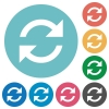 Flat refresh icons - Flat refresh icon set on round color background. 8 color variations included with light teme.