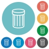 Flat trash icons - Flat trash icon set on round color background. 8 color variations included with light teme.
