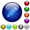 Color pencil glass buttons - Set of color pencil glass web buttons. Arranged layer structure.