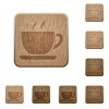 Coffee wooden buttons - Set of carved wooden coffee buttons. 8 variations included. Arranged layer structure.