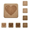 Set of carved wooden heart buttons. 8 variations included. Arranged layer structure. - Heart wooden buttons