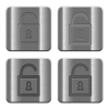 Metal Unlocked padlock buttons - Set of Unlocked padlock buttons vector in brushed metal style. Arranged layer, color and graphic style structure.