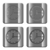 Metal Clock buttons - Set of Clock buttons vector in brushed metal style. Arranged layer, color and graphic style structure.