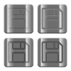 Metal Save buttons - Set of Save buttons vector in brushed metal style. Arranged layer, color and graphic style structure.