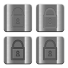Metal Locked padlock buttons - Set of Locked padlock buttons vector in brushed metal style. Arranged layer, color and graphic style structure.