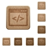 Programming code wooden buttons - Set of carved wooden programming code buttons. 8 variations included. Arranged layer structure.