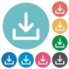 Flat download icons - Flat download icon set on round color background. 8 color variations included with light teme.