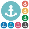 Flat anchor icons - Flat anchor icon set on round color background. 8 color variations included with light teme.