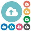 Flat cloud upload icons - Flat cloud upload icon set on round color background. 8 color variations included with light teme.