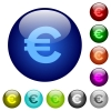 Color euro sign glass buttons - Set of color euro sign glass web buttons. Arranged layer structure.
