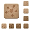 Connect wooden buttons - Set of carved wooden connect buttons. 8 variations included. Arranged layer structure.