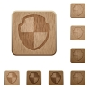 Shield wooden buttons - Set of carved wooden shield buttons. 8 variations included. Arranged layer structure.