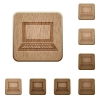 Laptop wooden buttons - Set of carved wooden laptop buttons. 8 variations included. Arranged layer structure.