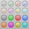 Set of zoom in plastic sunk spherical buttons on light gray background. 16 variations included. Well-organized layer, color swatch and graphic style structure. Easy to recolor. - Zoom in plastic sunk buttons
