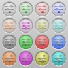 Horizontal adjustment plastic sunk buttons - Set of horizontal adjustment plastic sunk spherical buttons on light gray background. 16 variations included. Well-organized layer, color swatch and graphic style structure. Easy to recolor.