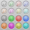 Zoom out plastic sunk buttons - Set of zoom out plastic sunk spherical buttons on light gray background. 16 variations included. Well-organized layer, color swatch and graphic style structure. Easy to recolor.